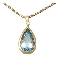1970s 6.04 Carat Aquamarine Diamond Gold Pendant