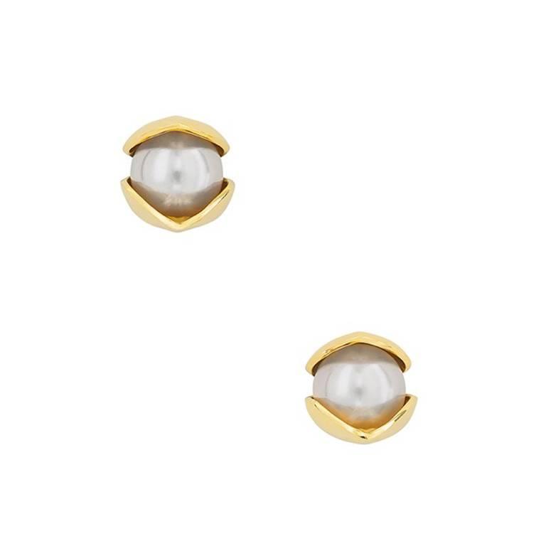 18 Karat Yellow Gold 8mm Akoya Pearls Stud Earrings