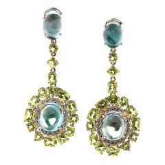 Bellarri Blue Topaz Peridot Silver Gold Earrings