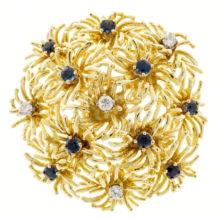 Tiffany & Co. Sapphire Diamond Gold Domed Flower Pin