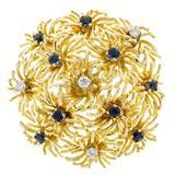 Tiffany & Co. Sapphire Diamond Gold Domed Flower Pin