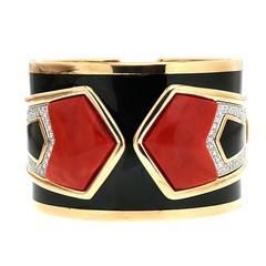 Special Cut Coral Black Enamel Diamond Gold Cuff Bracelet