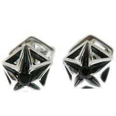 Pyramid Black Sapphire Silver Stud Earring