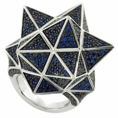 Tetra Full Pave Blue Sapphire Silver Star Ring