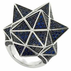 Tetra Full Pave Blue Sapphire Silver Ring