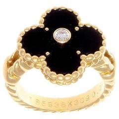 Van Cleef & Arpels Alhambra Onyx Diamond Gold Ring