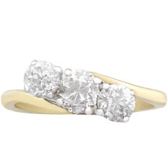 1900s and 1980s 2.04 Carat Diamond Gold Trilogy Ring