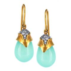 Lauren Harper Soft Blue Peruvian Chalcedony White Diamond Gold Drop Earrings