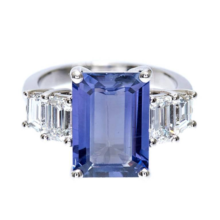 Peter Suchy Natural Emerald Cut Sapphire Diamond Platinum Engagement Ring