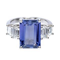 Peter Suchy Natural Emerald Cut Sapphire Diamond Platinum Engagement Ring