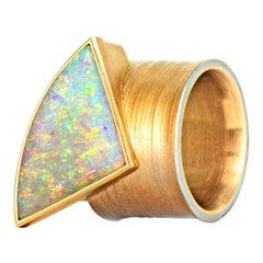 Eva Steinberg Multi-Color Flashfire Opal Gold Platinum Cylinder Band Ring