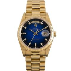 Rolex Yellow Gold Diamond Dial Day-Date Blue Vignette Wristwatch