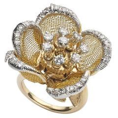Diamond Gold Mesh Flower Ring