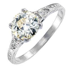 .92 Carat Natural Light Yellow Diamond Art Deco Platinum Engagement Ring