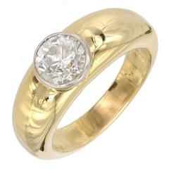 Men's Diamond Bezel Heavy Gold Platinum Ring
