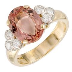 4.87 Carat Natural Pink Orange Precious Topaz Diamond Gold Ring
