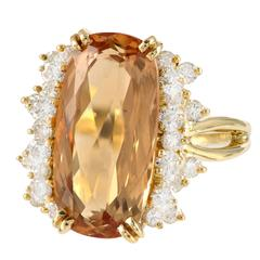 Natural Orange Precious Topaz Diamond Gold Ring