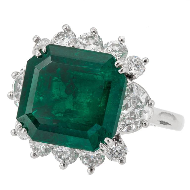 7.50 Carat Square Colombian Emerald Diamond Engagement Ring