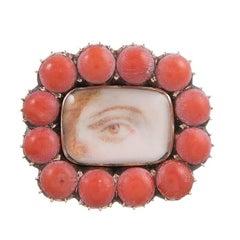1820s Coral-Framed Lover's Eye Pin