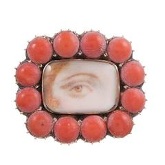 1820s Coral-Framed Lover's Eye Pin