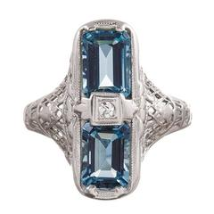 1920s American Made Aquamarine Diamond Gold Filigree Ring
