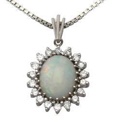 3.01Ct Opal and 0.54Ct Diamond, 14k White Gold Pendant - Vintage Circa 1970