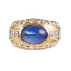 5.00 Carat Cabochon Sapphire Diamond Gold Ring