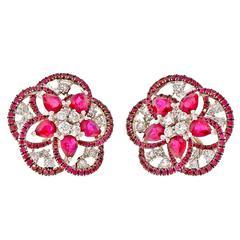 Pear Ruby Diamond Gold Swirl Circle Earrings