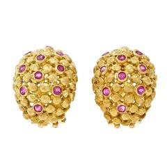 Spitzer and Furman Ruby Gold Domed Clip Post Earrings