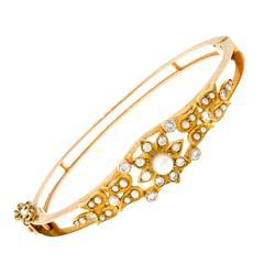 Cultured Pearl Diamond Gold Bangle Bracelet