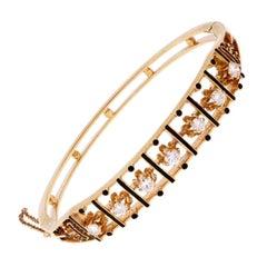 1950s Black Enamel Diamond Gold Bangle Bracelet