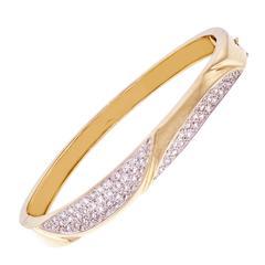 Large Pavé Diamond Gold Bangle Bracelet