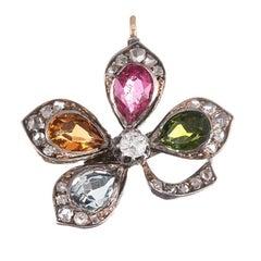 1880s Victorian Gemstone Diamond Silver Gold Four-Leaf Clover Pendant