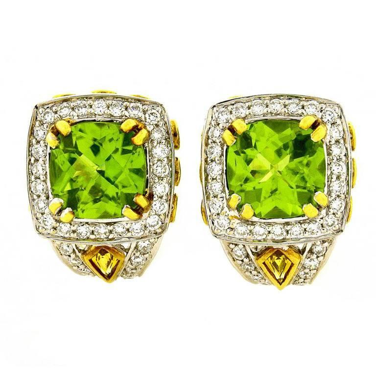 Charles Krypell Peridot Yellow Sapphire Diamond Gold Earrings For Sale