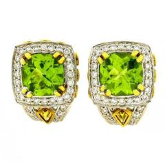 Charles Krypell Peridot Yellow Sapphire Diamond Gold Earrings