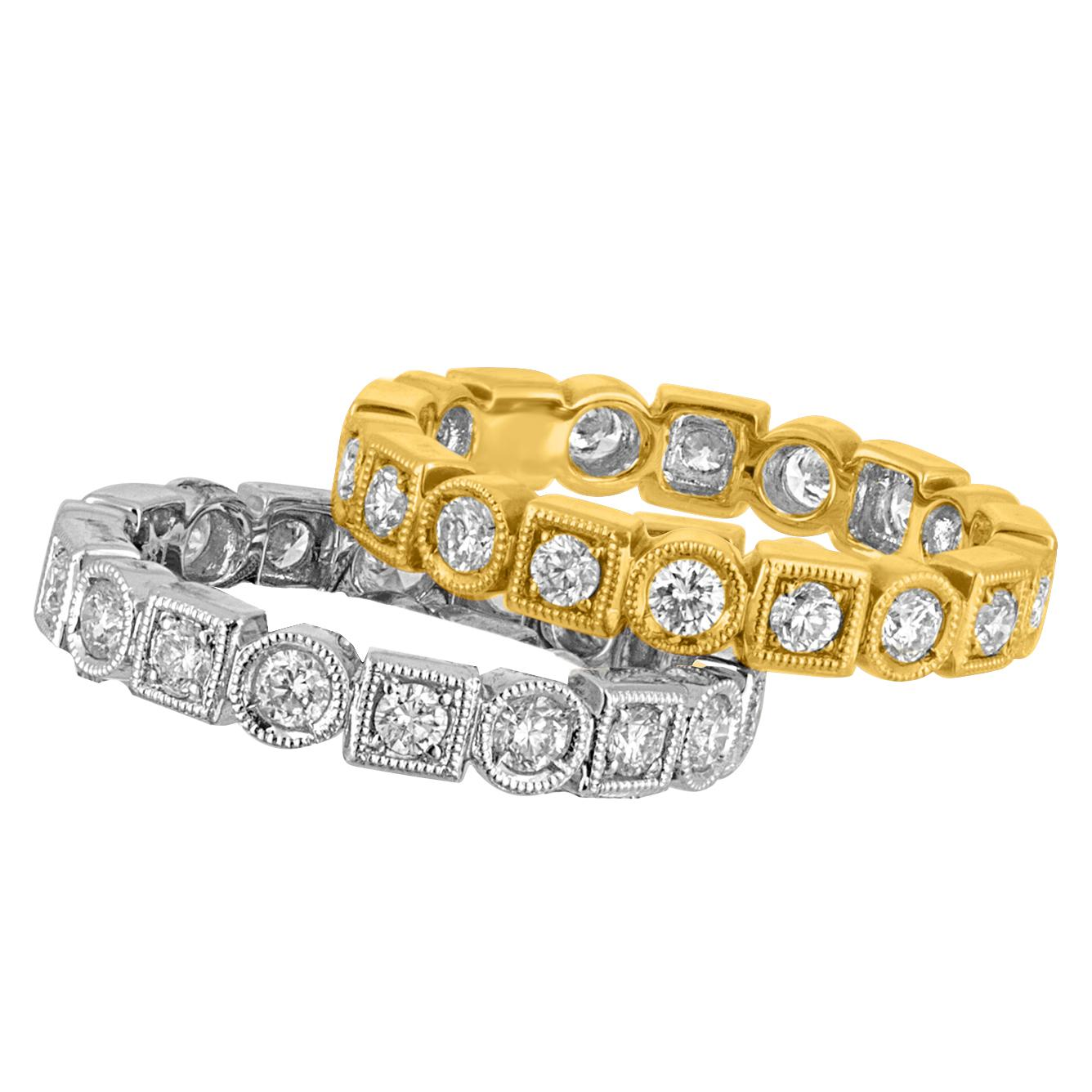 1.90 Carats Set Of 2 Stackable Diamond Gold Eternity Band Rings