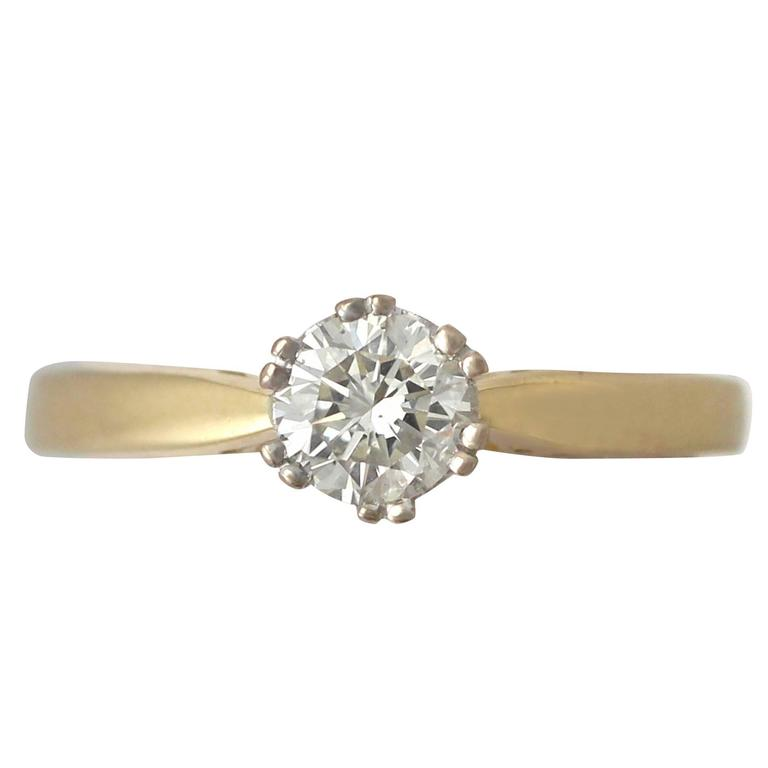 0.56Ct Diamond and 18k Yellow Gold Solitaire Ring - Vintage 1994