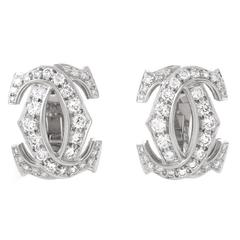 "Cartier C de Cartier Diamond Gold ""C"" Earrings"
