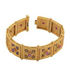 Enamel Ruby Gold Bracelet
