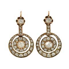 Early Victorian Rose Cut Diamond Gold Earrings