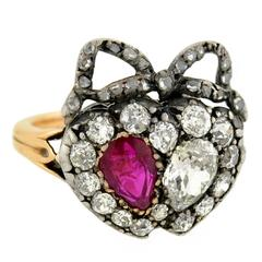Victorian Ruby Diamond  Double Heart Ring
