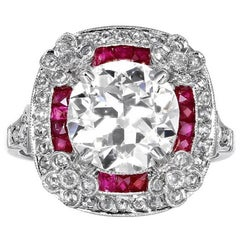 2.96 Carat Old Mine Cut Diamond Ruby Halo Platinum Ring