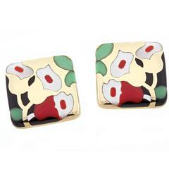 Asch Grossbart Inlaid Gemstone Gold Earrings