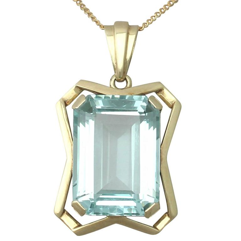 20.85Ct Aquamarine & 14k Yellow Gold Pendant - Art Deco - Antique Circa 1930 1