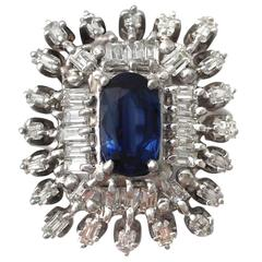 1.39Ct Sapphire & 2.10Ct Diamond, 14k White Gold Dress Ring - Vintage Circa 1970