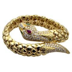 Yellow Gold Ruby and Emerald White Diamond Snake Cuff Bracelet