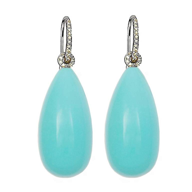 Colleen B. Rosenblat Turquoise Diamond Gold Earrings 1
