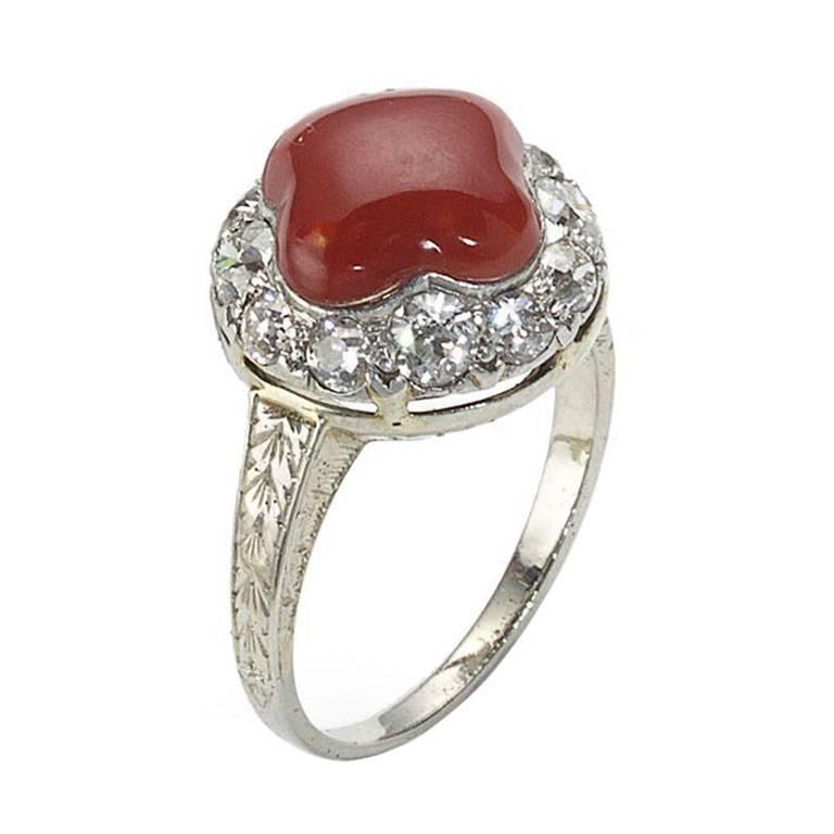Coral Diamond Platinum Ring For Sale