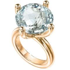 Erich Zimmermann Custom Cut Pale Blue White Topaz Gold Solitaire Princess Ring