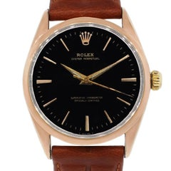 Rolex Rose Gold Shell Oyster Perpetual Wristwatch